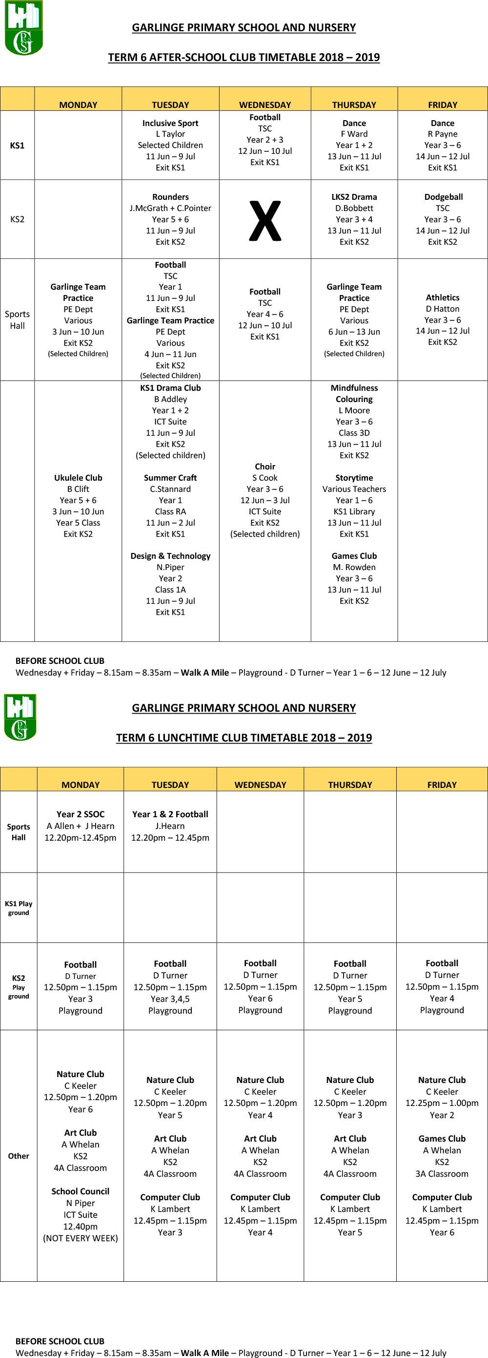 Club Timetable